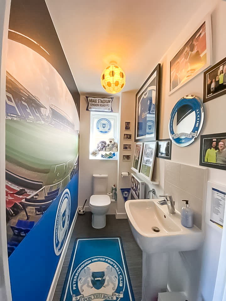 Peterborough United themed bathroom
